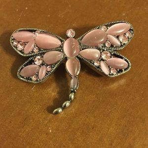 Lia Sophia pink dragonfly pin